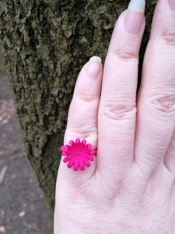 Pink Flower Bloom Ring, Plastic contemporary 3-D Printed Design