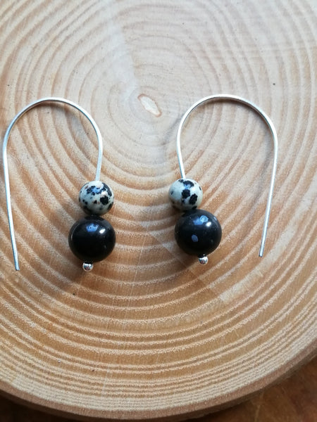 Sterling Silver Earrings, with Black Jasper and Dalmatian Jasper beads