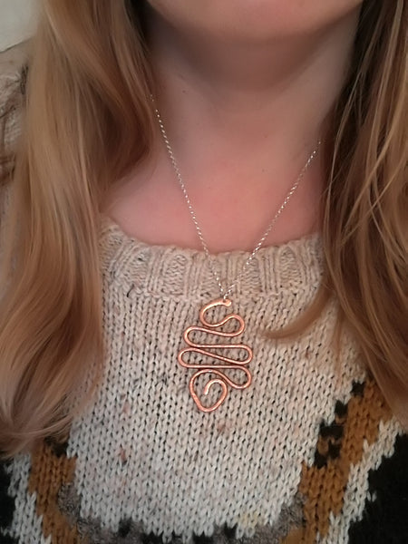 Handmade Sterling Silver rolo chain Necklace, with Copper artisan coiled pendant