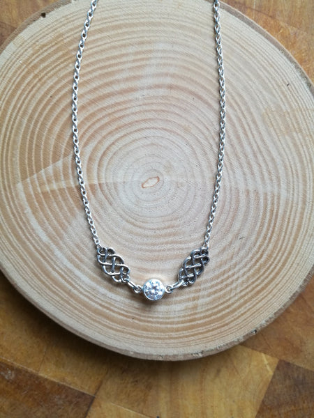 Celtic Knot Silver Necklace, April Cubic Zirconia Birthstone gift