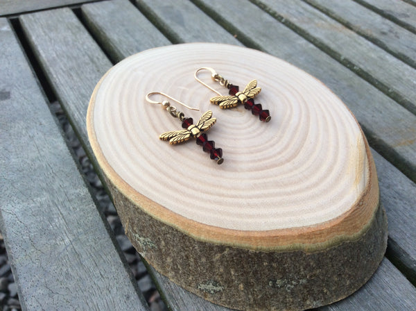 Gold Vermeil Handmade Dragonfly Earrings, with Garnet colour Swarovski Crystal beads, January Birthstone gift