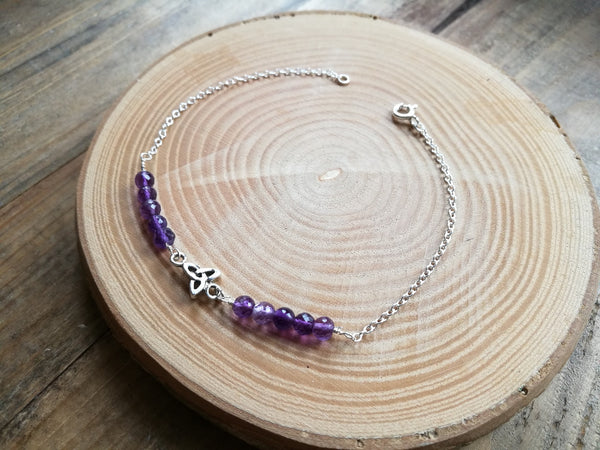 Silver and Amethyst Bracelet, February Birthstone Gift, with Celtic connector charm