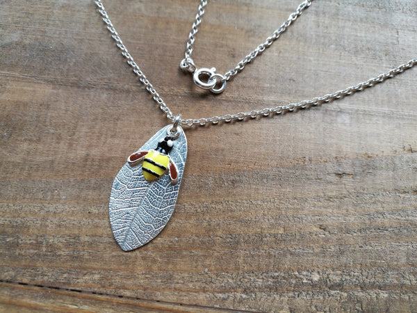 Enamel Bee and Silver Leaf Necklace, Summer gift