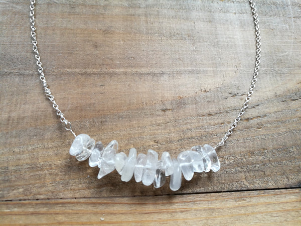 Handmade Silver Necklace, Ice White Quartz raw smooth gemstones, April Birthstone gift