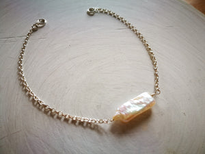 Biwa Pearl and Silver Bracelet, June Birthstone Gift