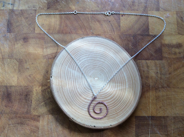 Handmade Copper coil swirl pendant Necklace, with Sterling Silver rolo chain