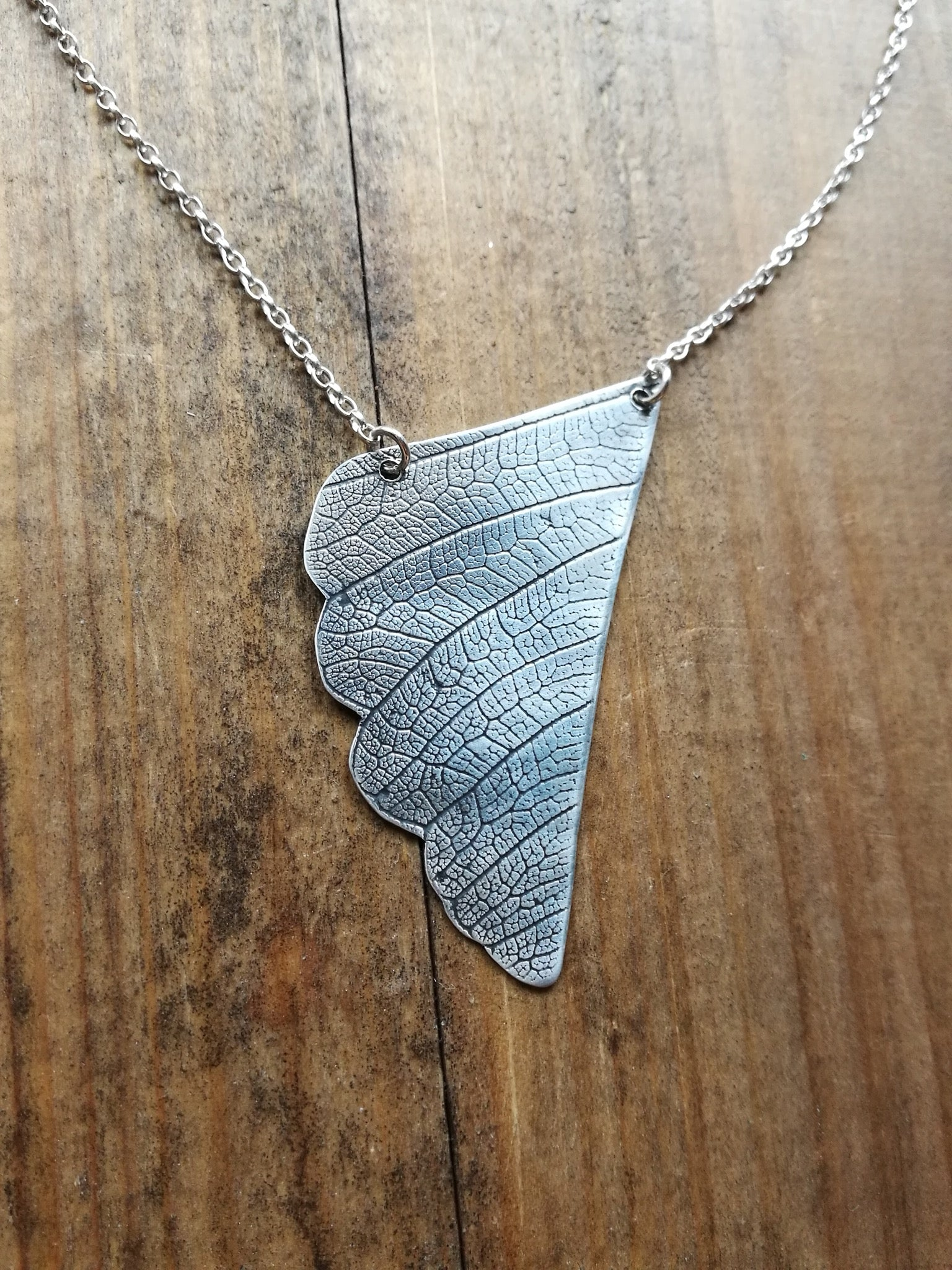 Handmade Sterling Silver Necklace, leaf vein textured, with rolo chain