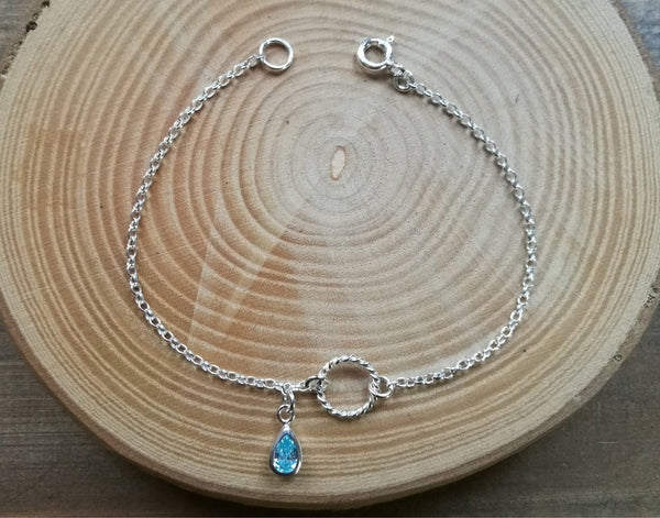 Silver Infinity Circle Bracelet, March Birthstone Gift, Aquamarine teardrop gemstone