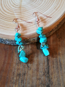 Copper Handmade Earrings, with Turquoise gemstone beads, December Birthstone gift