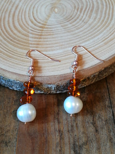 Copper Handmade Earrings, with White Pearl and Amber gemstone beads, June Birthstone gift