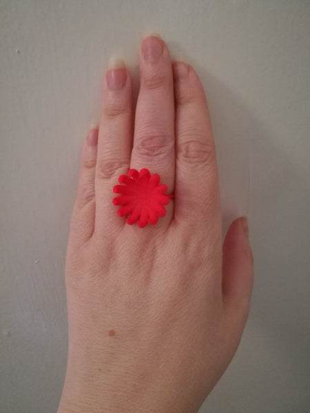 Red Flower Bloom Ring, Plastic contemporary 3-D Printed Design