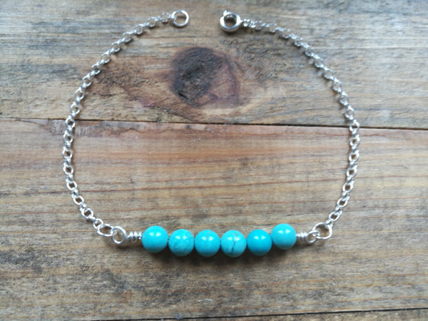 Silver and Turquoise beaded Bracelet, December Birthstone Gift, Mens Jewellery