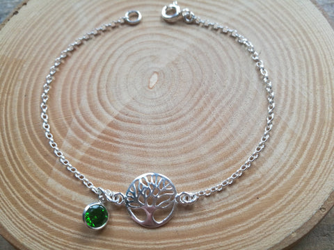 Silver Tree of Life Bracelet, May Birthstone Gift,  Emerald Green colour CZ round gemstone