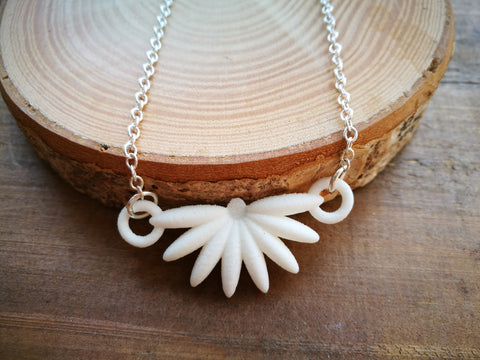 White Daisy Flower Necklace, Plastic contemporary 3-D Printed Design