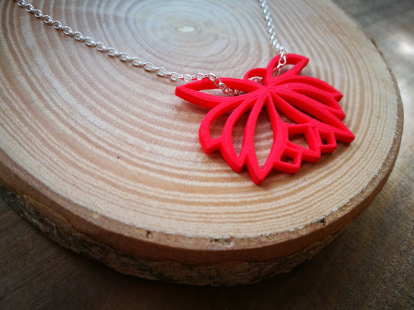 Lotus Red  Flower Necklace, Plastic contemporary 3-D Printed Design