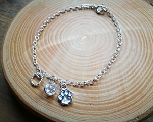 Silver Dog Paw Charm Bracelet, April Birthstone Gift, Clear White Topaz round gemstone
