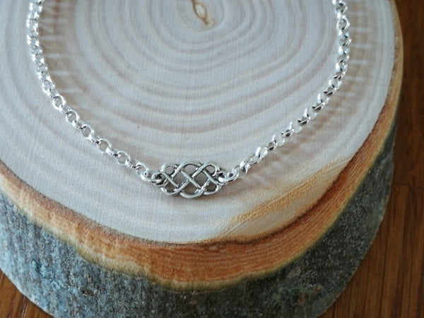 Silver celtic charm Bracelet, minimalist design, luxury chunky rolo chain