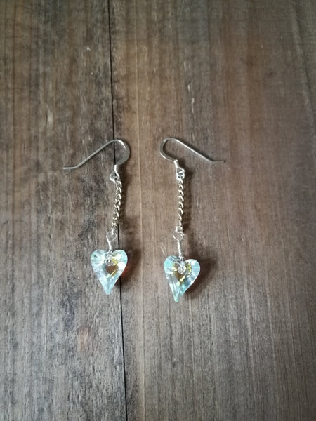 Handmade Sterling Silver Earrings, with Swarowski Crystal heart beads, April Birthstone gift