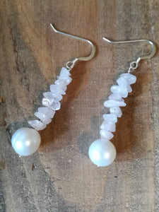 Handmade Sterling Silver Earrings, with White Pearl and Pink Rose Quartz gemstone beads, June Birthstone gift
