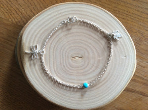 Silver and Turquoise charm Bracelet, December Birthstone Gift, with Dragonfly and Maple Leaf charms