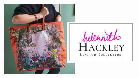 Helen Ruth and Hackley limited collection logo next to an image of a woman holding an oversized patterned shopper bag