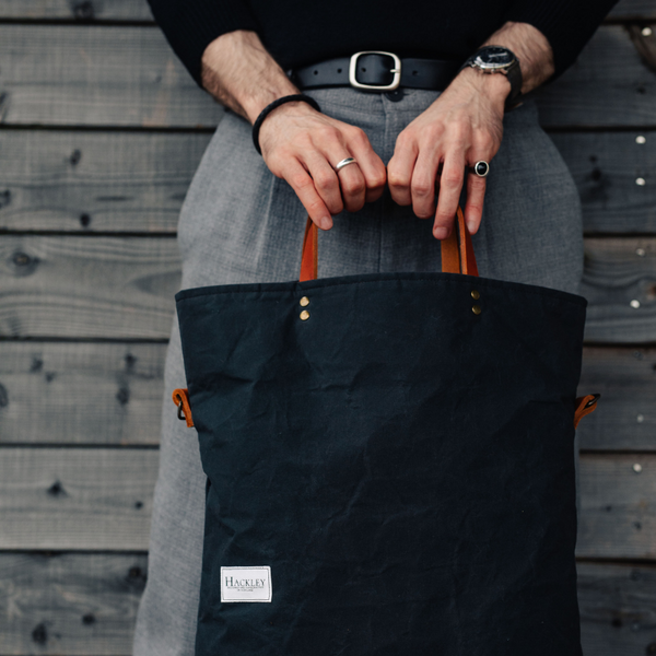 Wax Cotton Bucket Tote - Charcoal