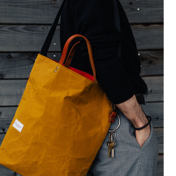Wax Cotton Bucket Tote - Mustard
