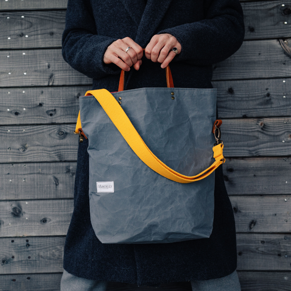 Wax Cotton Bucket Tote - Light Grey