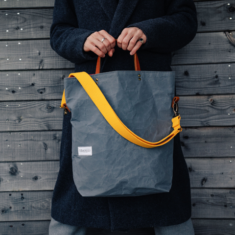 Waxed Cotton Bucket Tote - Light Grey