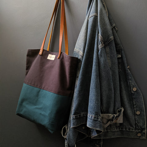 Long Handle Tote - Teal & Navy