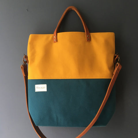 Old Style Bucket Tote - Teal & Mustard - No Pockets