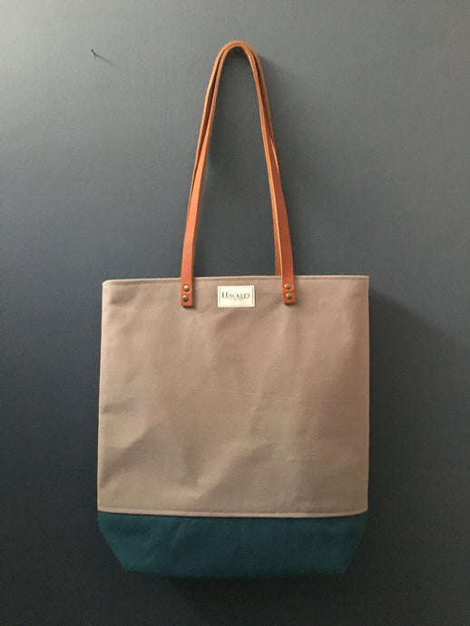Long Handle Tote - Grey & Teal