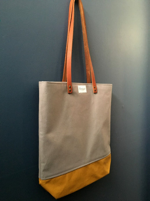 Long Handle Tote - Grey & Mustard