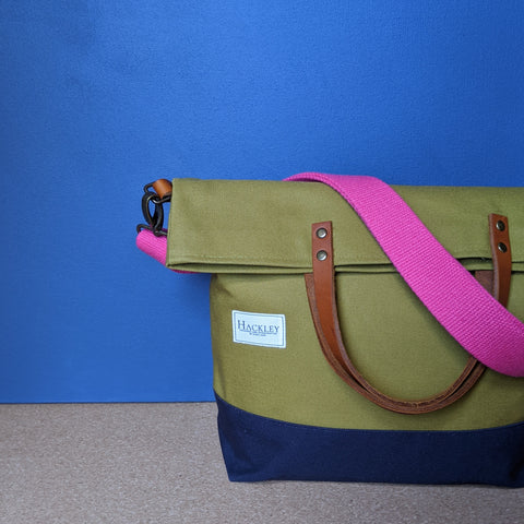 Bucket Tote - Olive Green & Navy