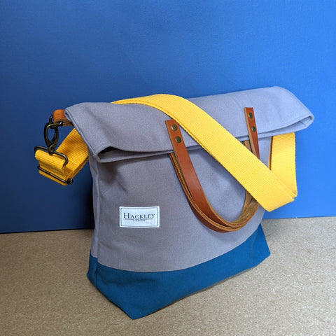 Bucket Tote - Grey & Teal