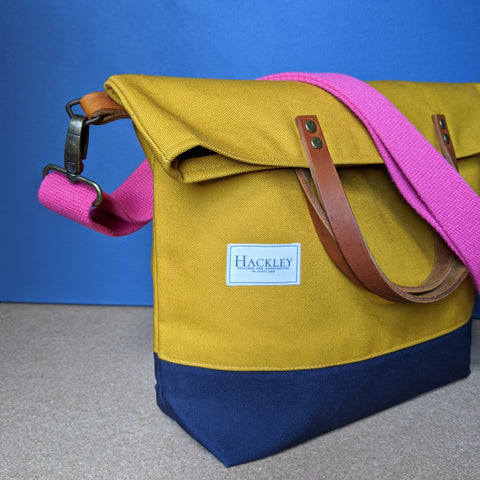 Old Style Bucket Tote - Mustard & Navy - No Pockets