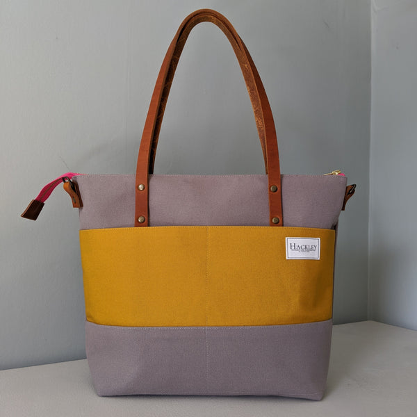 Limited Edition Zip top Shopper - Grey & Mustard