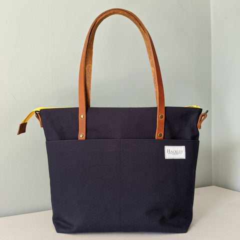 Zip top Shopper - Navy