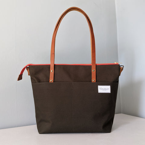 Zip top Shopper - Moss Green
