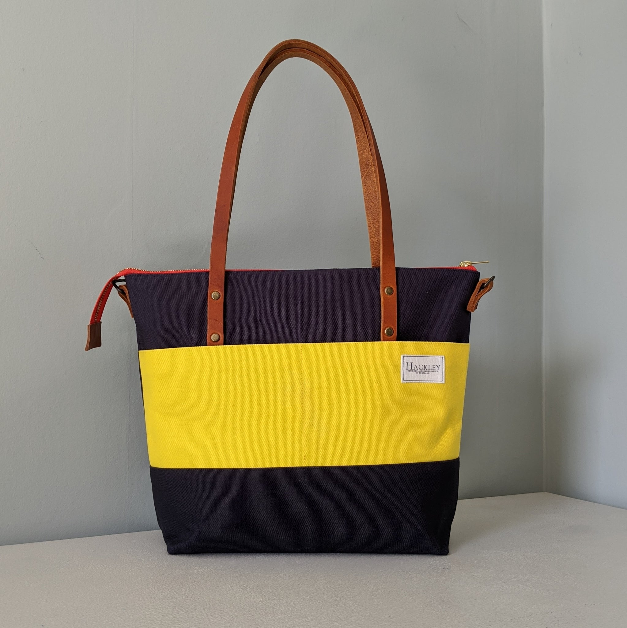 Limited Edition Zip top Shopper - Navy & Yellow