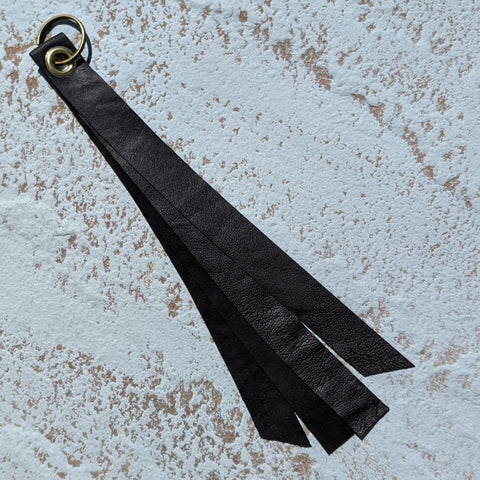 Long Double Layer Leather Keyring - Black