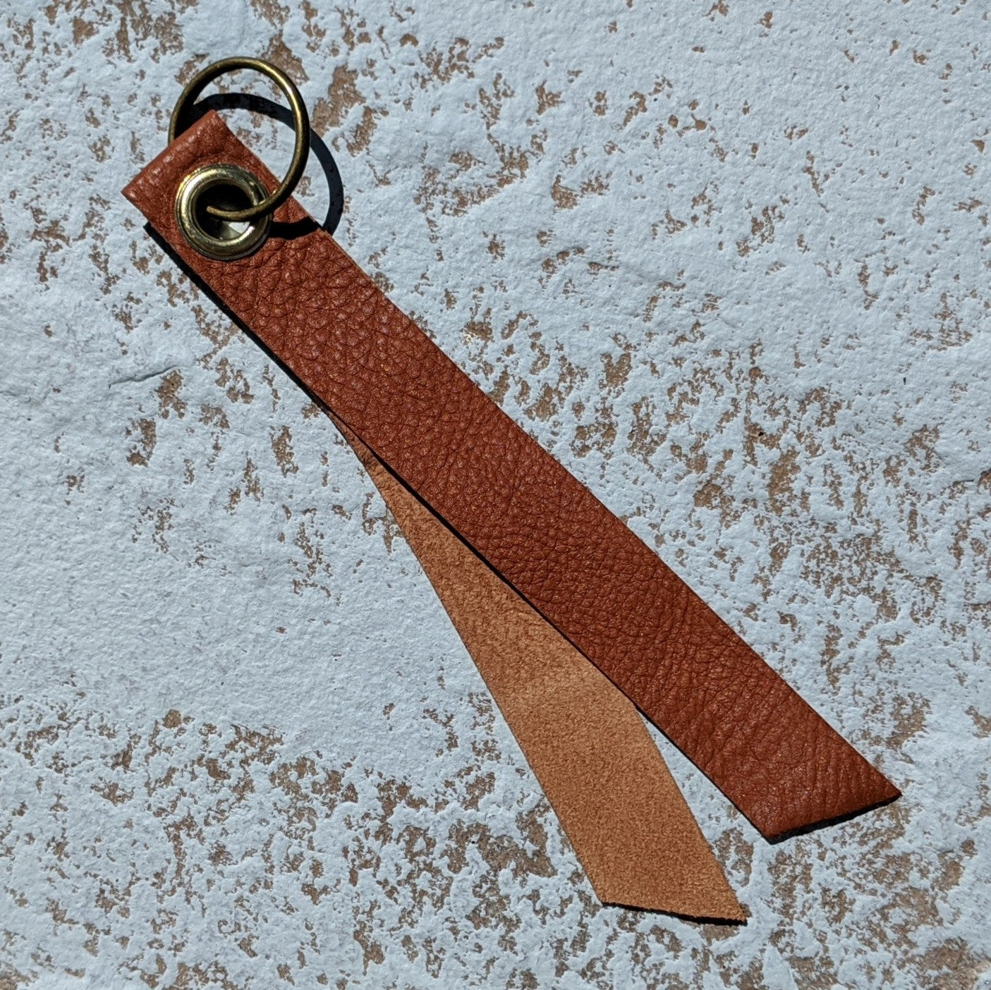 Short Single Layer Leather Keyring - Tan