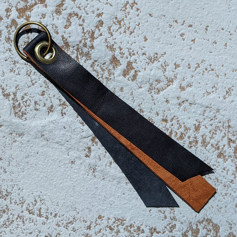 Short Double Layer Leather Keyring - Navy & Tan