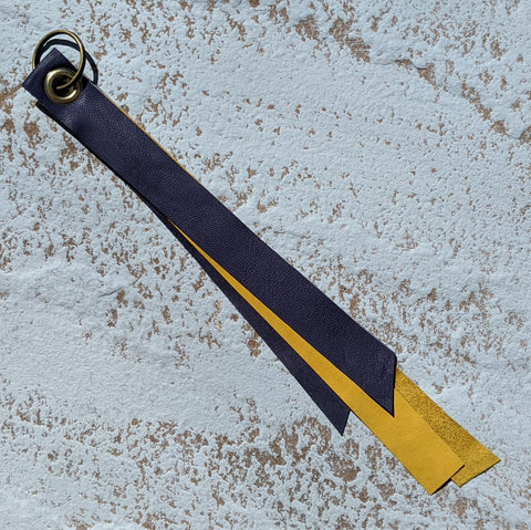 Long Double Layer Leather Keyring - Smoke Blue & Yellow Suede