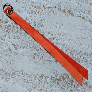 Extra Long Single Layer Leather Keyring - Coral