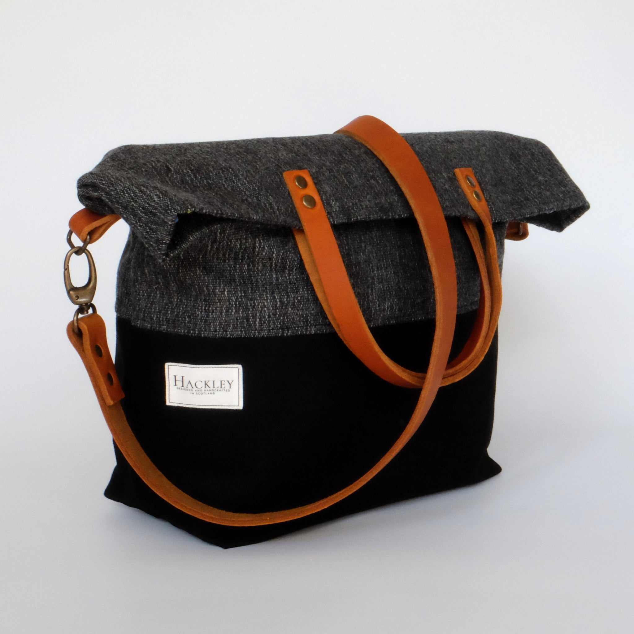 Limited Edition Bucket Tote - Grey & Black - No Pockets
