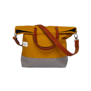 Bucket Tote - Mustard & Grey