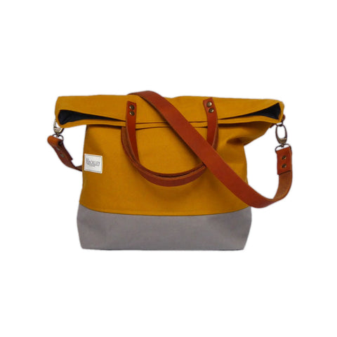 Old Style Bucket Tote - Mustard & Grey - No Pockets