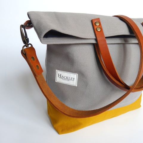 Bucket Tote - Grey & Mustard