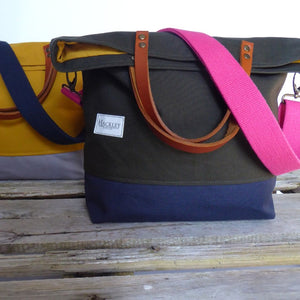 Bucket Tote - Moss Green & Navy